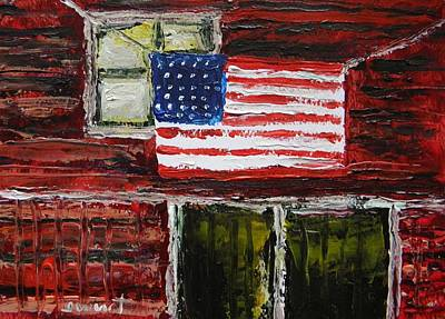 Old Glory Drawing - Musing-glory Above The Door by John Williams
