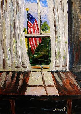Old Glory Drawing - Musing-glory Through The Window by John Williams