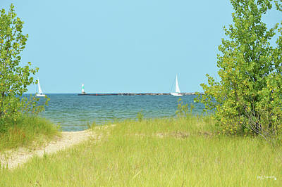 Photograph - Muskegon Bay Lighthouse In Michigan by Ken Figurski