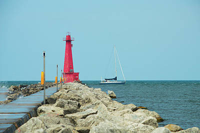 Photograph - Muskegon Lighthouse And Sailboat In Michigan by Ken Figurski