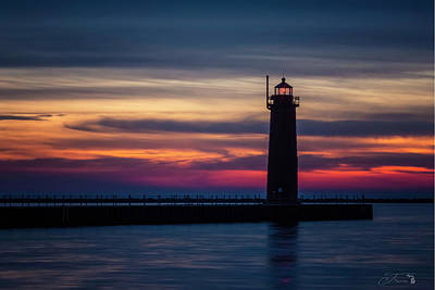 Wall Art - Photograph - Muskegon Pier Lighthouse Sunset Michigan by J Thomas