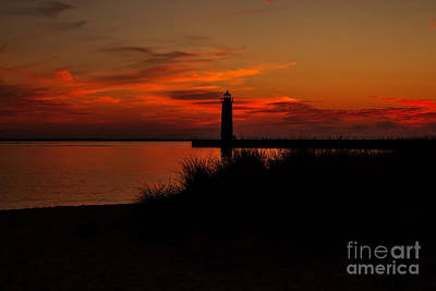 Muskegon Lighthouse Wall Art - Photograph - Muskegon Sunset by Emily Kay