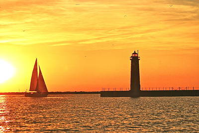 Muskegon Lighthouse Wall Art - Photograph - Muskegon Sunset by Michael Peychich