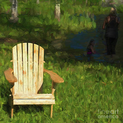 Photograph - Muskoka Chair And Mother With Daughter by Les Palenik
