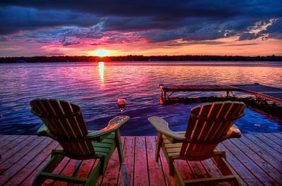 Photograph - Muskoka Chair Sunset by Michaela Preston