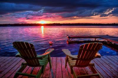 Muskoka Chair Sunset Art Print