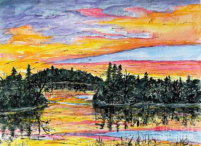 Musky Sunset Art Print by Linda Steine