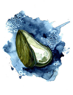 Seafood Painting - Mussel Shell by Paul Gaj