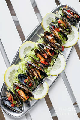 Moules Photograph - Mussels In Fresh Zesty Marinated Citrus Vegetable Sauce Seafood  by Jacek Malipan