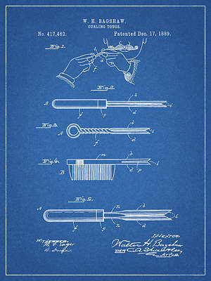 Drawing - Mustache Curling Iron Patent by Dan Sproul
