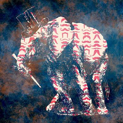 Black Top Digital Art - Mustache Elephant by Brandi Fitzgerald