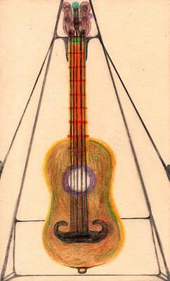 Mustache Guitar Art Print