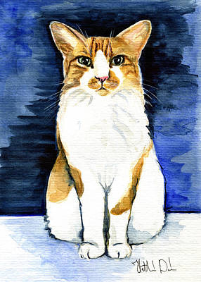 Painting - Mustached Bicolor Beauty - Cat Portrait by Dora Hathazi Mendes