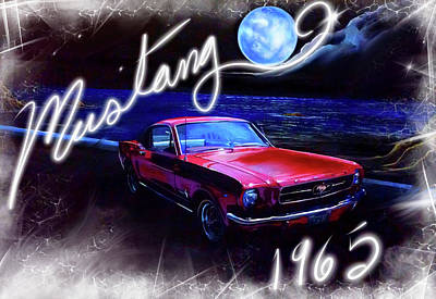1965 Mustang Painting - Mustang 1965 by Veronica Castaneda