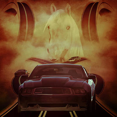 Digital Art - Mustang Alley by Davandra Cribbie