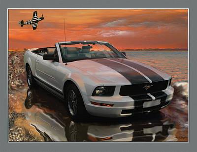 Mustang And Mustang At The Beach Original