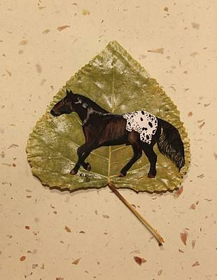 Mustang Appaloosa On Poplar Leaf Art Print by Ralph Root