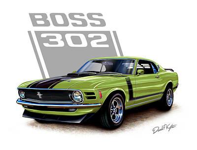 Mustang Boss 302 Grabber Green Art Print by David Kyte