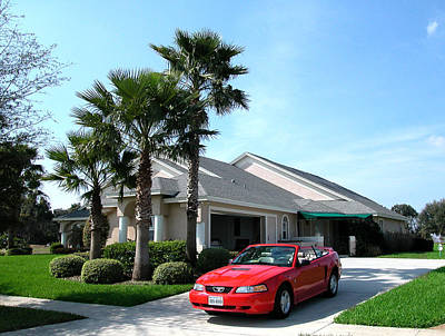Photograph - Mustang Convertible At My House In Florida by Carl Purcell