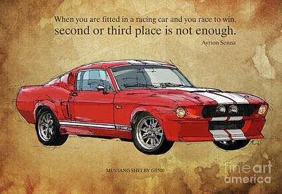 Mustang Gt500, Ayrton Senna Inspirational Quote Handmade Drawing, Brown Background Art Print