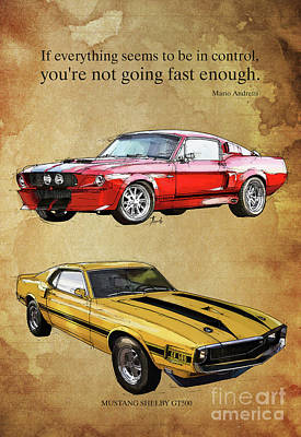 Mustang Gt500 Ayrton Senna Inspirational Quote, Handmade Drawing, Two Portraits Art Print