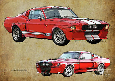 Mustang Gt500 Red And Red, Handmade Drawing, Original Classic Car For Man Cave Decoration Art Print