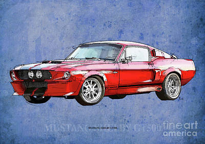 Mustang Gt500 Red, Handmade Drawing, Original Classic Car For Man Cave Decoration Art Print