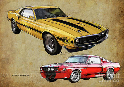 Mustang Gt500 Yellow And Red, Handmade Drawing, Original Classic Car For Man Cave Decoration Art Print