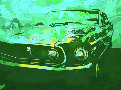 Digital Art - Mustang Mach 1 Green Pop by David King