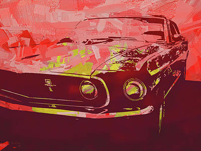 Digital Art - Mustang Mach 1 Red Pop by David King