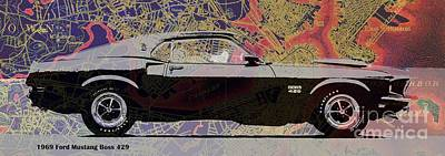 Drawings Royalty Free Images - Mustang original car on Boston Harbor old vintage map Royalty-Free Image by Drawspots Illustrations