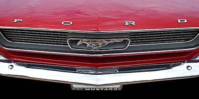 Classic Mustang Photograph - Mustang Pony Grille 1966 In Red by Gill Billington