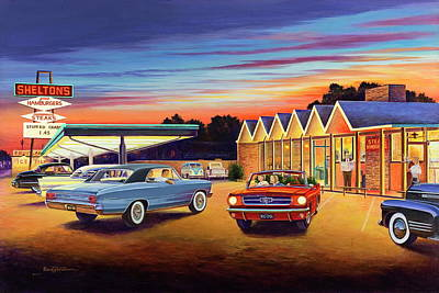 Painting - Mustang Sally - Shelton's Diner 2 by Randy Welborn