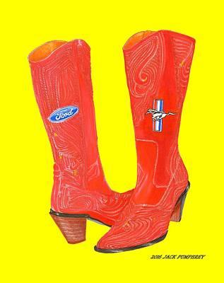 Painting - Mustang Sally Kick Ass Boots by Jack Pumphrey