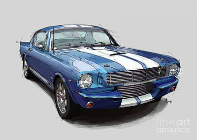 Mustang Shelby 1965 Handmade Drawing For Man Cave Art Print