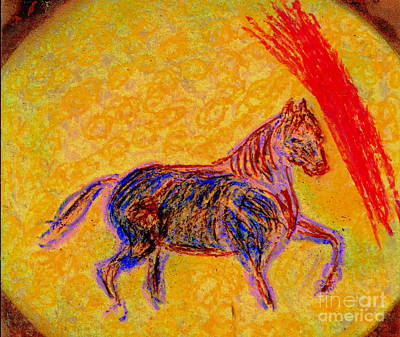 Mustang Stallion Art Print by Richard W Linford