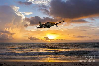 Mustang Sunset Print by J Biggadike