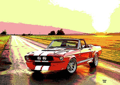 Racetrack Mixed Media - Mustang The Car by Charles Shoup
