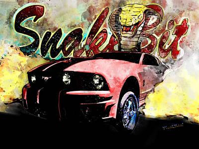 Cobra Mixed Media - Mustanger Snakebit Burnout Hot Rod Art by Chas Sinklier