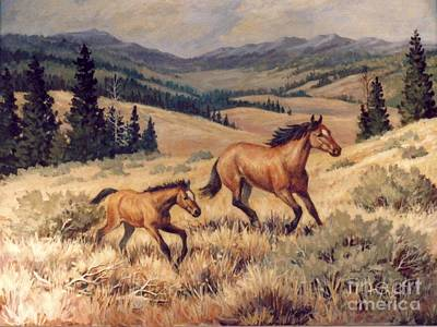 Mustangs      Mare And Foal Escaping Art Print by JoAnne Corpany