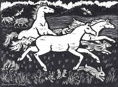 Drawing - Mustangs Frisking On The High Plains by Dawn Senior-Trask