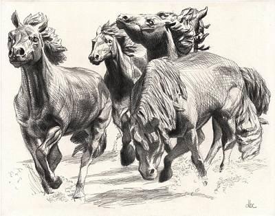 Mustangs Of Las Colinas Art Print by David Clemons