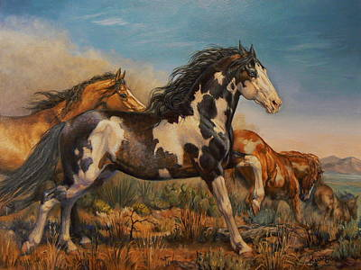 Painting - Mustangs On The Run by Kerry Nelson
