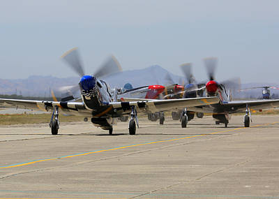 Photograph - Mustangs Taxi For Takeoff At Hollister by John King