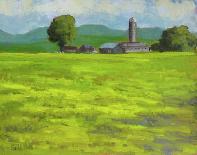 Mustard Fields Indiana Art Print by Nora Sallows
