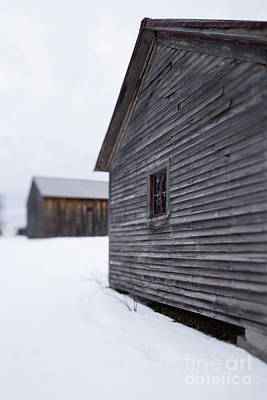 Photograph - Musterfield Farm North Sutton Nh Old Buildings In The Snow by Edward Fielding
