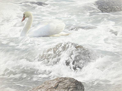 Digital Art - Mute Swan In Ocean Surf. by Rusty R Smith