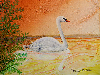 Painting - Mute Swan With Cygnet by Patricia Beebe