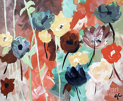 Abstract Handbag Art Painting - Muted Floral Abstraction by Jilian Cramb - AMothersFineArt