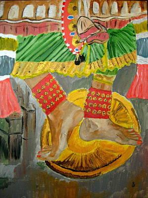 Bharatanatyam Painting - Muva - The Anklets by Priyadarshini Komala